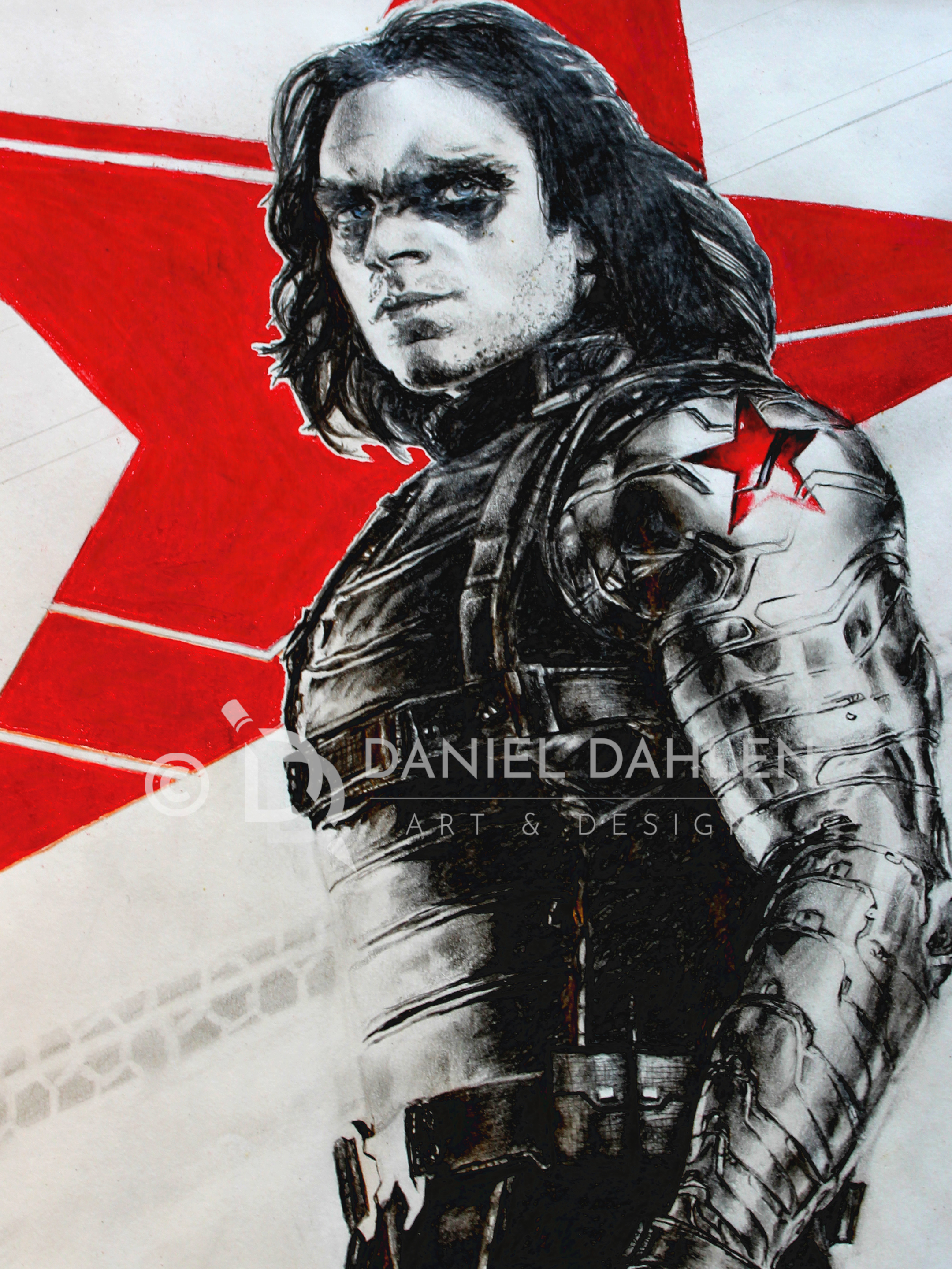 Winter Soldier Hand Drawn Graphite/Colored Pencil Drawing