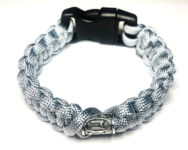 TRUST EHWAZ RUNE PARACORD BRACELET SILVER/LIGHT GREY